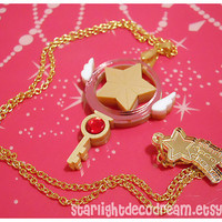 READY TO SHIP Cardcaptor Sakura Clow Star Key Inspired Gold Acrylic Necklace for Mahou Kei, Magical Girl Fashion