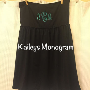 Monogrammed Swim Suit Cover Up Bathing Suit Cover Up Black Beach Pool Kaileysmonogram Cruise Summer Preppy