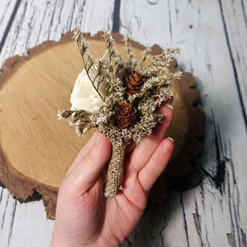 Cream brown rustic wedding BOUTONNIERE CORSAGE groom groomsman, Sola Flower, pine cone dried flower custom woodland summer small ring bearer