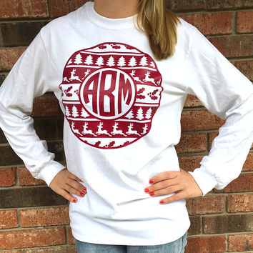Christmas Emblem Monogram Long Sleeve Tee