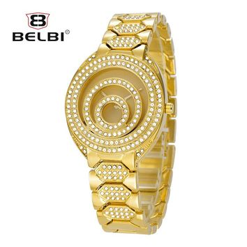Relogio Feminino 2017 Top Luxury Brand BELBI Silver Women Watches Ladies Quartz Dress Wristwatches Design Diamond Dial For Women
