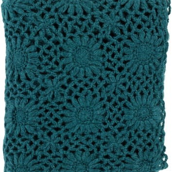 Surya Teresa 50 by 60 inches Crocheted Acrylic Throw, Teal