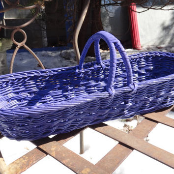 Wicker Basket, Purple Basket, Oblong Basket, Painted Basket, Artsy Colorful Easter Basket, Purple Decor, Oval Basket, Wicker Basket