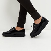 Black Patent Lace Up Creepers