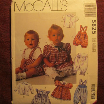 SALE Uncut 1992 McCall's Sewing Pattern, 5825! Infant/Baby/Girls/Boys/Overalls/Shirts/Pull-On Pants/Ruffle Sleeve Dress/Long Sleeve or Short
