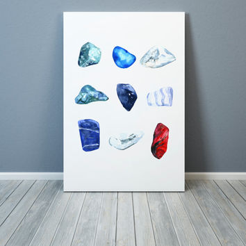 Gemstones print Gem watercolor Stone decoration Geology poster
