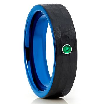 Blue Tungsten Wedding Band - Emerald - Black Tungsten - Hammered Ring