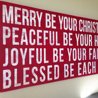 """Distressed Christmas Wood Sign - """"Merry Be Your Christmas"""""""