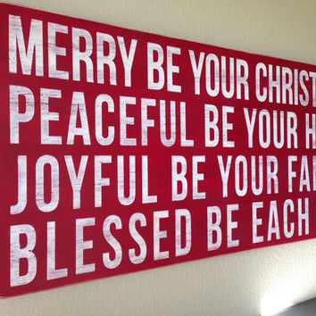 "Distressed Christmas Wood Sign - ""Merry Be Your Christmas"""