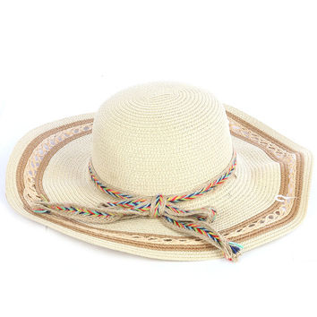 Braided Color Yarn Trim Floppy Straw Hat Beige