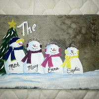 Slate sign, snowman family, add names and greeting
