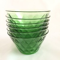 Green Depression Glass Berry Bowls, Set of 6 Moongleam Heisey Glass Bowls, Diamond Optic