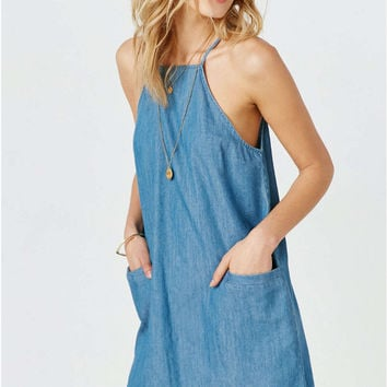 Light Blue Sleeveless Double Pocket Denim Dress