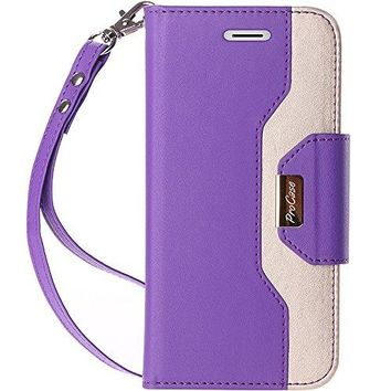 ProCase iPhone X Wallet Case, Flip Kickstand Case with Card Slots Mirror Wristlet, Folding Stand Protective Cover for Apple iPhone X / iPhone 10 (2017 Release) -Purple