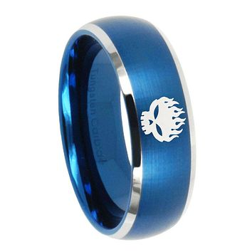 10mm Offspring Dome Brushed Blue 2 Tone Tungsten Carbide Men's Wedding Band