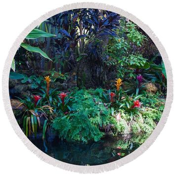 Tropical Garden - Round Beach Towel