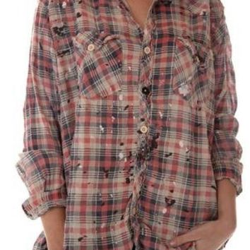 Magnolia Pearl Top 640 - European Cotton Kelly Western Shirt w Fading, Distressing and Paint