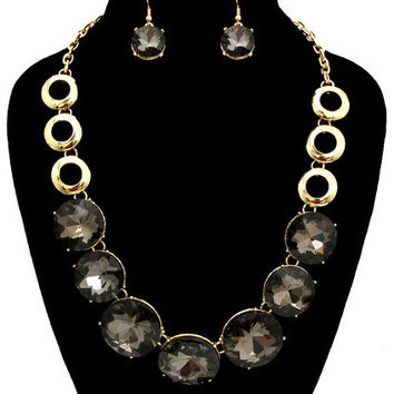 GLASS ROUND STONE NECKLACE AND EARRING SET HEMATITE