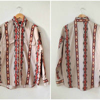 70s cotton SOUTHWESTERN men's button-up shirt // size large