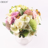silk rose european bouquet real touch wedding decoration flowers for home hotel garden decor bride hand flower boquet