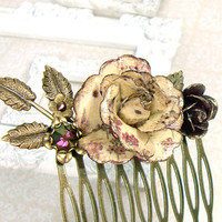Vintage Style Floral Hair Comb - Antique Brass Bronze Flower Hair Accessories -  Plum Ivory Leaves Vintage Wedding Paper Flower Hair Comb