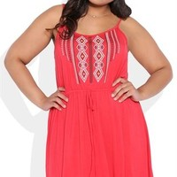 Plus Size A-Line Dress with Embroidered Bodice