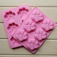 6 Hole Cat's Paw Shape Cake Ice Jelly Chocolate Molds Silicone A Pair of Wing Baking Fondant Cake Mold