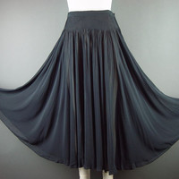 30s Black Silk Chiffon Skirt Vintage Bohemian Boho 1930s Smocked Cocktail Party  S Small