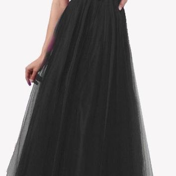 CLEARANCE - Empire Black Long Prom Dress Flowy Strapless Sequin Bodice (Size XL)