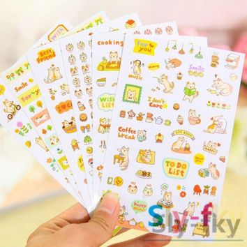 ONETOW 6 sheets Lovely Cat Scrapbooking Memo Stickers Diary Sticker Decoration Sticker Set