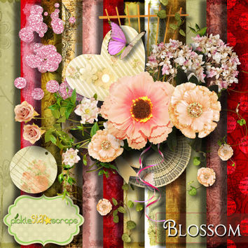 Blossom - Digital Scrapbook Kit - Printable Backgrounds - 12x12 inch Papers - ALPHA included - FREE Quickpage Layout