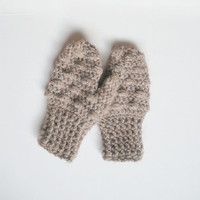 Crochet Toddler Mittens in Mocha Latte Bobbles, ready to ship.