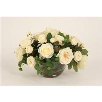 White Roses with Ivy in a Glass Bowl