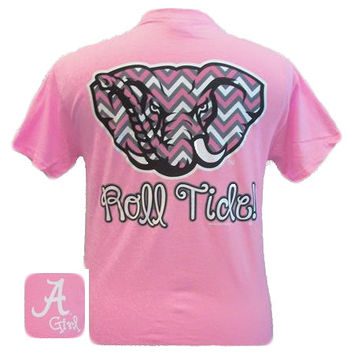 New Alabama Crimson Tide Chevron Logo Pink Bright T Shirt