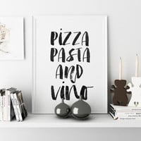"Kitchen Art ""Pizza pasta And Vino"" Typography Poster Kitchen Poster Wall Decor Home Decor Gallery Wall Prints Italian Food Quote Kitchen Art"