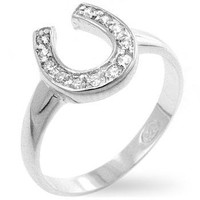 Horseshoe Cubic Zirconia Ring, size : 08