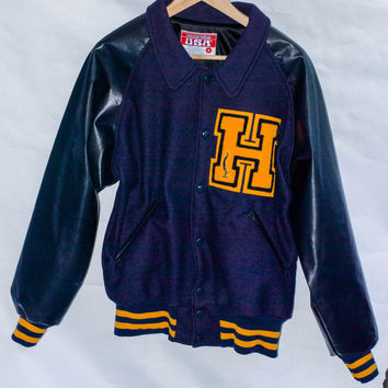 Men's Vintage Wool Navy Blue, Mustard,  & Black Varsity Jacket/Stadium Jacket/Letterman Jacket/Baseball Jacket / Wool Jacket - Letter H