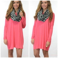 Ellington Hot Pink Long Sleeve Piko Dress