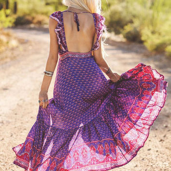 Spell || Sunset Road frill maxi dress in royal