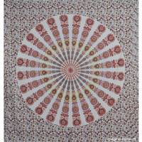 White Multicolor Floral Mandala Dorm & Bedroom Hippie Tapestry Wall Hanging