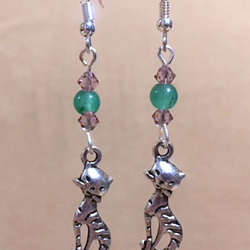 Cat Charm Earrings, Teal Bead & Crystal Silver Kitty Cat Charm Earrings, Glass Bead Earrings, Crystal Earrings, Handmade Beaded Jewelry