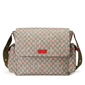 Gucci Strawberry-Print GG Canvas Diaper Bag, Beige/Multicolor