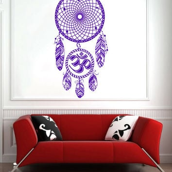 Dream Catcher Dreamcatcher Feathers Hindu Om Symbol Wall Decal Vinyl Sticker Decals Bedroom Home Wall Art Decor Wall Decals V992