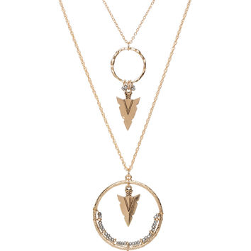 Spinning Arrow Necklace - Silver