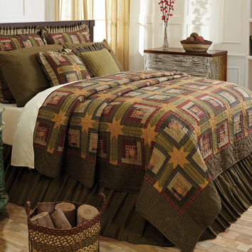 Tea Cabin - King - Patchwork Quilt and Shams Set - Extra Long! - Earthy Greens, Deep Red, Warm Navy & Creme - Heirloom Quality
