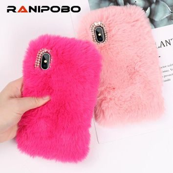 Luxuy Rabbit Hair Bling Diamond Phone Case for iPhone XS XR XS Max Warm Fur Rhinestone Bling Plush Furry Hard Back Cover Gift