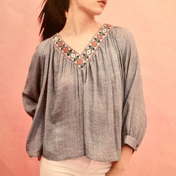 Arianna Embroidered  Peasant Top