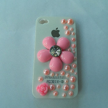 I phone 4 case pink flower by Shop441 on Etsy