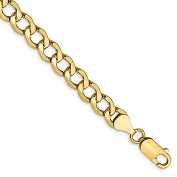 Men's 6.5mm, 14k Yellow Gold, Hollow Curb Link Chain Bracelet