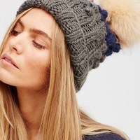 Free People Mile High Stripe Pom Beanie